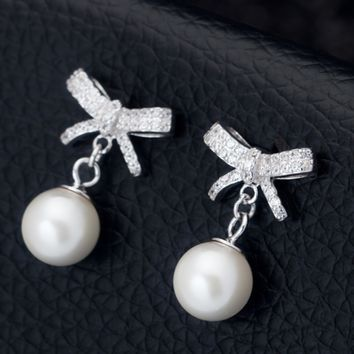 Lovely bowtie pearl pendant 925 sterling silver earrings,a perfect gift