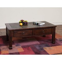 Sunny Designs Santa Fe Coffee Table with Slate Top In Dark Chocolate