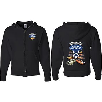 Ford Mustang Full Zip Hoodie V8 Collection Front and Back
