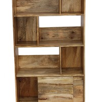 Industrial Design Wooden Bookshelf/Display Cabinet In Natural Wood Brown By The Urban Port