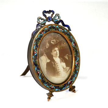 Antique French Champlevé  Cloisonne Enamel Bronze Frame
