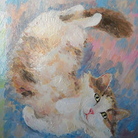 Playful Kitty Portrait Impasto Oil Painting from Photo Pet Cat Custom Wall Decor Contemporary Fine Modern Art Still Life Personalized gift