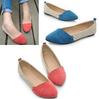 Women Ballet Slip-on Pointed Toe Matte PU Suede Low Heel Flat Shoes HOTTEST 7_S