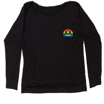 Embroidered Rainbow Pride Smile Face Patch (Pocket Print) Slouchy Off Shoulder Oversized Sweatshirt
