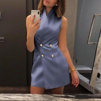 Women 2019 Summer Hot Fashion Casual Elegant Sleeveless Button Up Double-Breasted Short Mini Dresses Sexy Party Vintage Vestidos