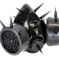 Black Tall and Skinny Spike Gas Mask Respirator Cyber Cosplay