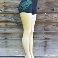 Glow in the Dark Psychedelic Jellyfish Leggings - Yoga Clothing - Hand Drawn - Conscious Wear