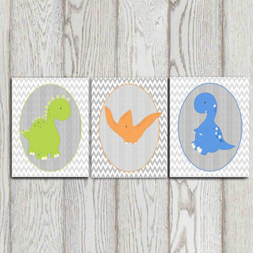 Sale 50% off Set of 3 Dinosaur prints 8x10 Nursery Chevron Dinosaur wall art Baby Boys bedroom decor Orang green blue gray  INSTANT DOWNLOAD