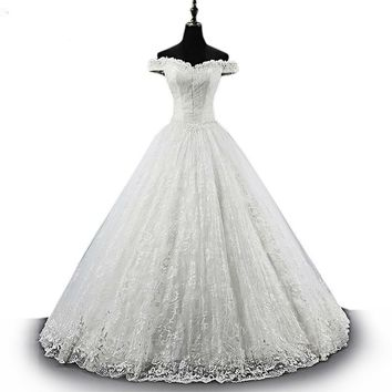 Sweetheart Luxury Wedding Dresses White Lace Sequined Bridal Long Ball Gown Custom Made
