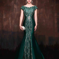 Forest Green Elegant Mermaid Fitted Lace Formal Evening Prom Dress with Cap Sleeves and Beadings | X002
