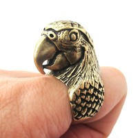 Realistic Parrot Bird Shaped Animal Wrap Around Ring in Brass   Sizes 6 to 10 Available