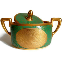 Pickard Studios Peacock Sugar Bowl Antique Rosenthal Isolde Engraved Gold China Home Decor Housewares Collectibles Luxury Goods c1925-1930