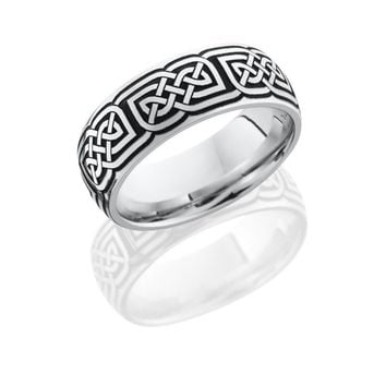 Cobalt Chrome 8mm Wide Laser Carved Celtic Wedding Band