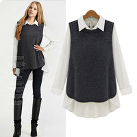 Block Asymmetrical Long-Sleeve Collared Shirt