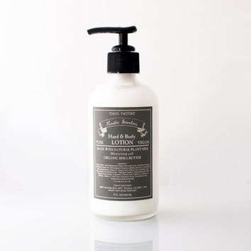 Shea Butter Lotion - Rustic Garden - in a glass bottle - with Organic Shea Butter - Vegan - Natural Hand and Body Lotion