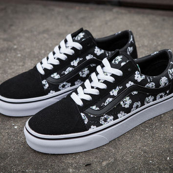 Trendsetter Vans Flower Print Canvas Old Skool Flats Sneakers Sport Shoes