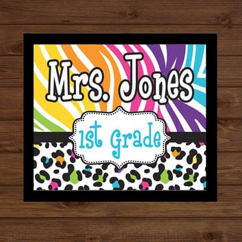 Zebra Cheetah Print Teacher Sign Pattern Back to School Custom Personalized - Classroom Decor/Gift - Wooden Sign Plaque  Gift Sign Wood Art
