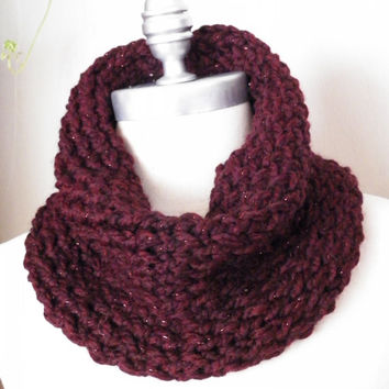 Oxblood Knit Cowl, Wine Red, Merlot, Barrel Scarf, Metallic Accents, Chunky Knit, Neckwarmer for Autumn, Fall, Winter