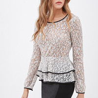 Tiered Floral Lace Peplum Top