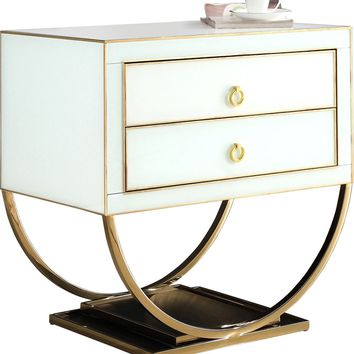 Alyssa Side Table Gold / White Glass