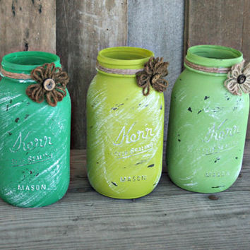 Home and Wedding Decor - Distressed Mason Jar, Vase or Organization - Green