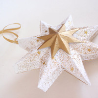 Christmas star ornament white and gold - Classic handmade star ornament - Christmas tree decoration