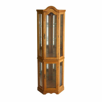 Lightedecorner Curio Cabinet - Golden Oak