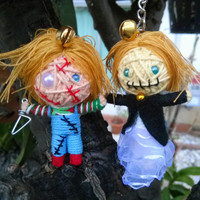 SET2 Dolls Chucky & Gf Couple Killer Horror String Voodoo Doll Keyring Keychain Bag Purse Backpack Hanging Bikers Scary Movie Wedding
