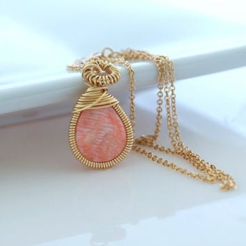 Coral Necklace, Coral Pendant Necklace, Delicate Necklace, Bezel Set Necklace
