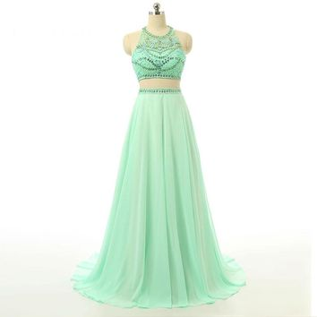 New Special Two Piece Prom Dresses Chiffon Sleeveless Halter A Line Beading Long Party Gowns Floor Length Dresses