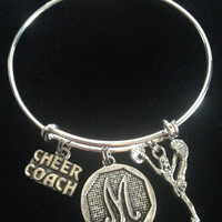 Initial Charm with Cheer Coach with Cheerleader Expandable Silver Charm Bracelet Adjustable Wire Bangle Handmade Gift Trendy Stacking Bangles
