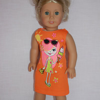 18 inch doll clothes, orange graphic print tank dress, sleeveless summer dress, girl with ice cream print dress,