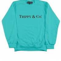BRIAN LICHTENBERG TURQUOISE TRIPPY & CO SWEATSHIRT WITH BLACK INK