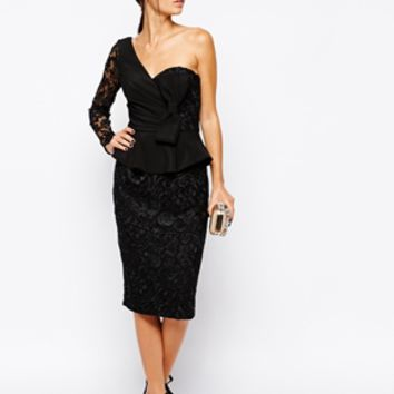 Forever Unique Carrie One Shoulder Lace Dress - Black