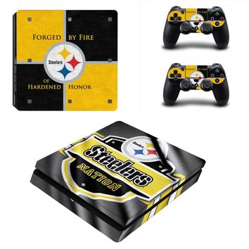 Pittsburgh Steelers PS4 Slim Skin Sticker Decal for Sony PlayStation 4 Console and 2 Controller PS4 Slim Skins Sticker Vinyl
