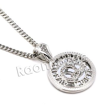 "Men Hip Hop Rhodium Plated Iced Out Medusa Pendant w/ 24"" Miami Cuban Chain B15S"