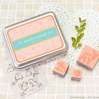 Set of 13 DIY Stamp - Lovely Animal - Rubber Stamp With Tin Case - Made In Korea
