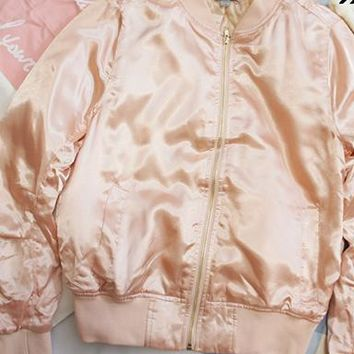 Pink Silky Bomber Jacket