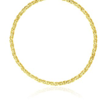 14K Yellow Gold Fancy Byzantine Chain Necklace