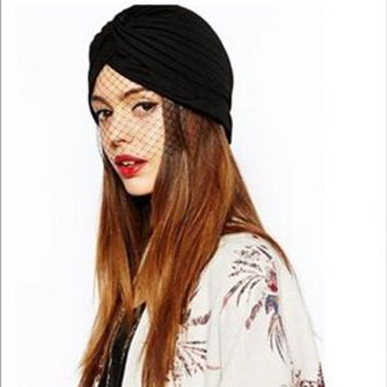 Free Shipping 2016 New Fashion India Hat Black Women Ladies Turban Hat With Mesh Veil Detail Cap