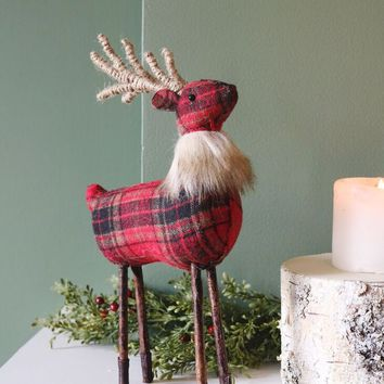 "Artificial Red Plaid Reindeer Christmas Decoration - 12"" Tall"