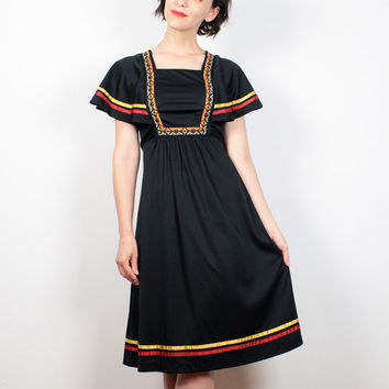 Vintage 70s Dress Black Red Yellow Folk Embroidered Hippie Dress Flutter Sleeve Midi Dress 1970s Dress Babydoll Dress Boho XS Extra Small