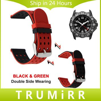 Double Side Wearing Watchband 22mm 23mm + Tool for Luminox Silicone Watch Band Wrist Strap Rubber Bracelet Blue Black Green Red