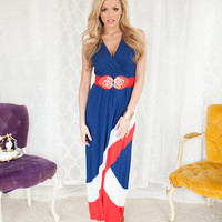 Red White and Blue Color Block High Low Dress CLEARANCE