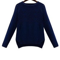 Knit Pullover Sweater in Navy