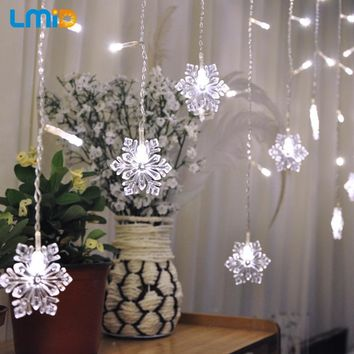 LMID 2M*0.6M 60 LEDs Snowflake LED Curtain Lights for Xmas Tree Garden Home Decoration Christmas Garland LED String Waterproof