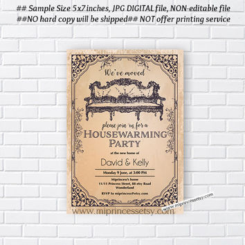housewarming invitation, vintage invites, New house vintage hose warming Invitation Card | We have moved Invitation Card Design - card 189