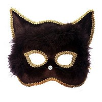 Mardi Gras Venetian Mask - Black Cat