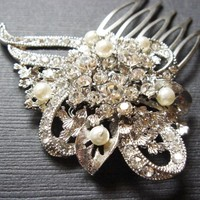 Olivia Pearls Vintage Lace and Flower Swarovski Crystal Hair Comb