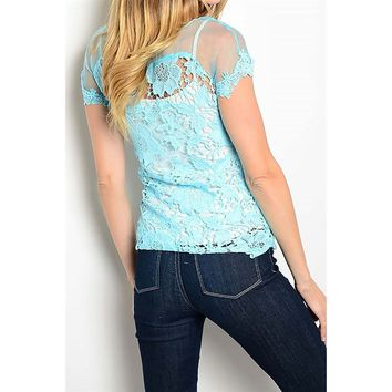 Short Sleeve Crochet top, Lt Blue
